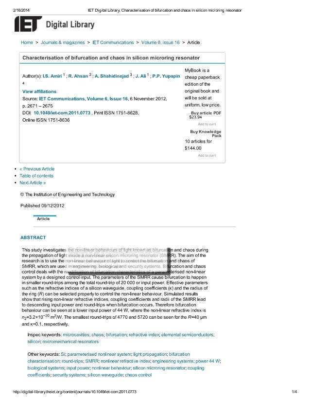 2/18/2014 IET Digital Library:  Characterisation of bifurcation and chaos in silicon microring resonator  lg Digital Libra...