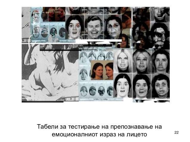 22  Табели за тестирање на препознавање на  емоционалниот израз на лицето