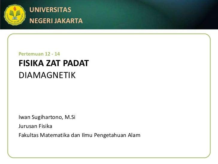 Pertemuan 12 - 14 FISIKA ZAT PADAT DIAMAGNETIK Iwan Sugihartono, M.Si Jurusan Fisika Fakultas Matematika dan Ilmu Pengetah...