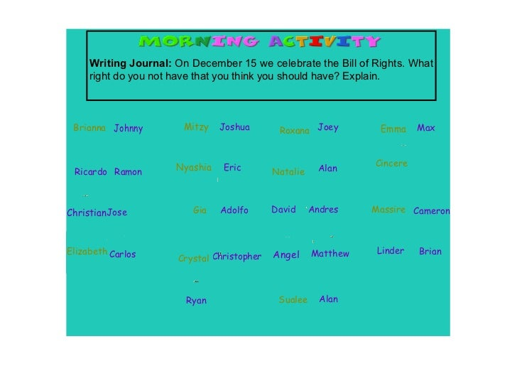 Writing Journal: On December 15 we celebrate the Bill of Rights. What      right do you not have that you think you should...