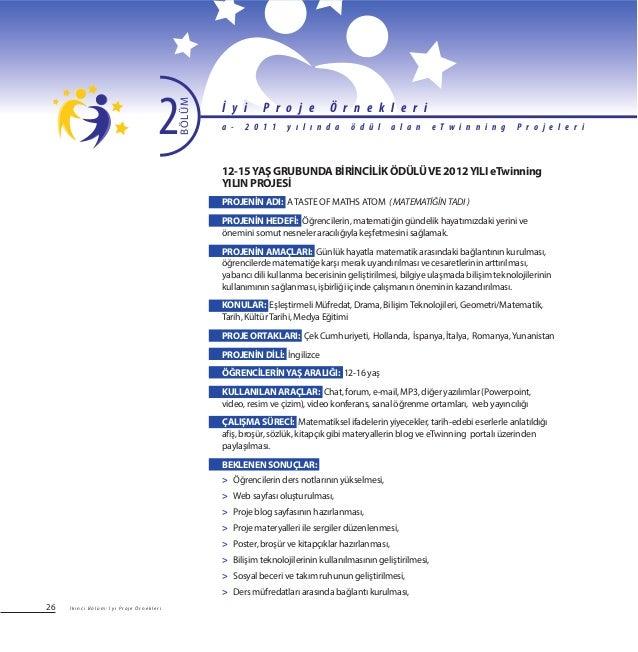 26 12-15YAŞ GRUBUNDA BİRİNCİLİK ÖDÜLÜVE 2012YILI eTwinning YILIN PROJESİ PROJENİN ADI: ATASTE OF MATHS ATOM (MATEMATİĞİNTA...