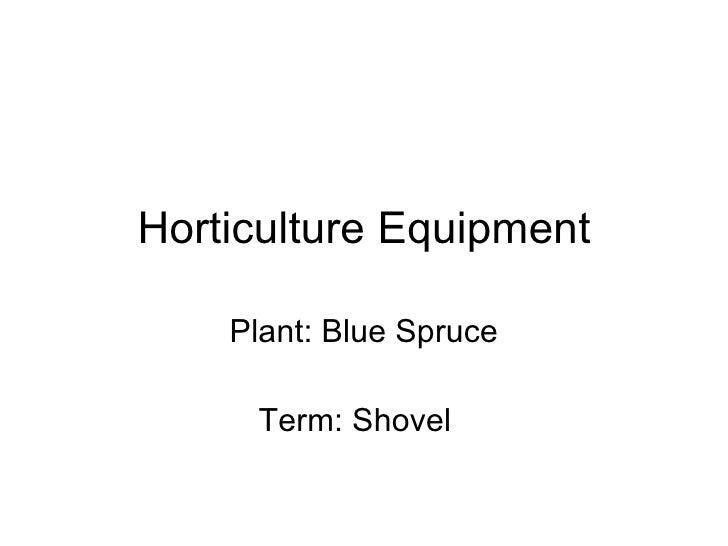 Horticulture Equipment Plant: Blue Spruce Term: Shovel