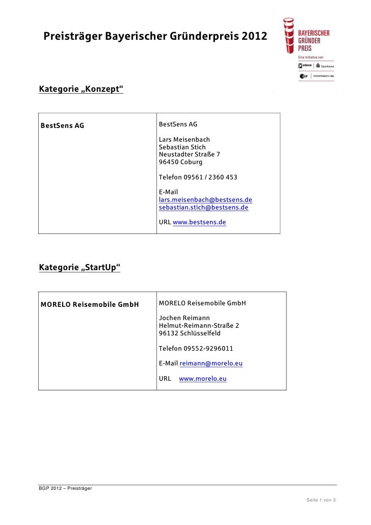 "Preisträger Bayerischer Gründerpreis 2012Kategorie ""Konzept""BestSens AG               BestSens AG                         ..."