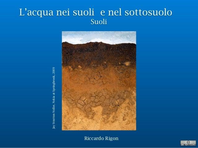 L'acqua nei suoli e nel sottosuolo Suoli Riccardo Rigon JayStrattonNoller,NekiaatSpringbrook,2009