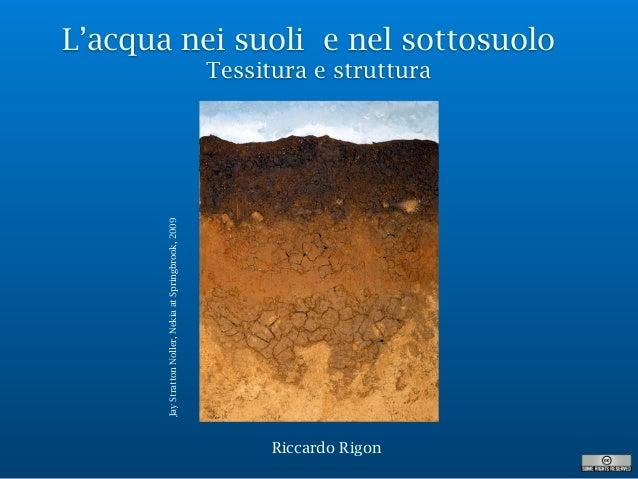 L'acqua nei suoli e nel sottosuolo Tessitura e struttura Riccardo Rigon JayStrattonNoller,NekiaatSpringbrook,2009