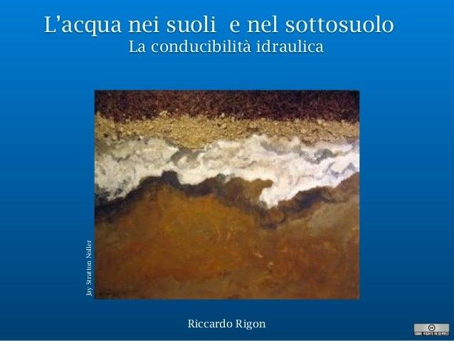 L'acqua nei suoli e nel sottosuolo La conducibilità idraulica Riccardo Rigon JayStrattonNoller