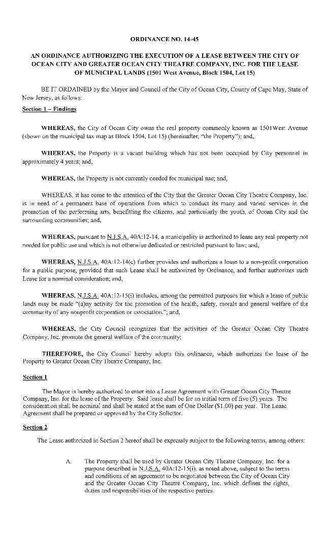 ORDINANCE NO.  14-45  AN ORDINANCE AUTHORIZING THE EXECUTION OF A LEASE BETWEEN THE CITY OF OCEAN CITY AND GREATER OCEAN C...