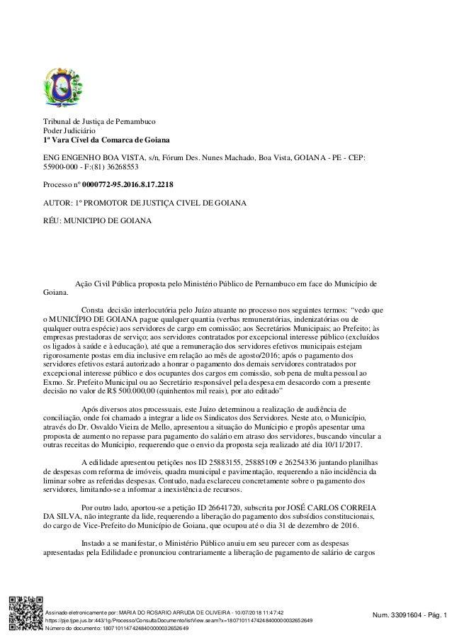 Tribunal de Justiça de Pernambuco Poder Judiciário 1ª Vara Cível da Comarca de Goiana ENG ENGENHO BOA VISTA, s/n, Fórum De...