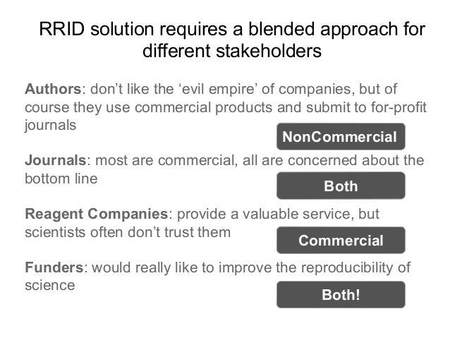 RRID solution requires a blended approach for different stakeholders Authors: don't like the 'evil empire' of companies, b...