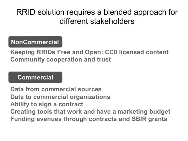 RRID solution requires a blended approach for different stakeholders Keeping RRIDs Free and Open: CC0 licensed content Com...