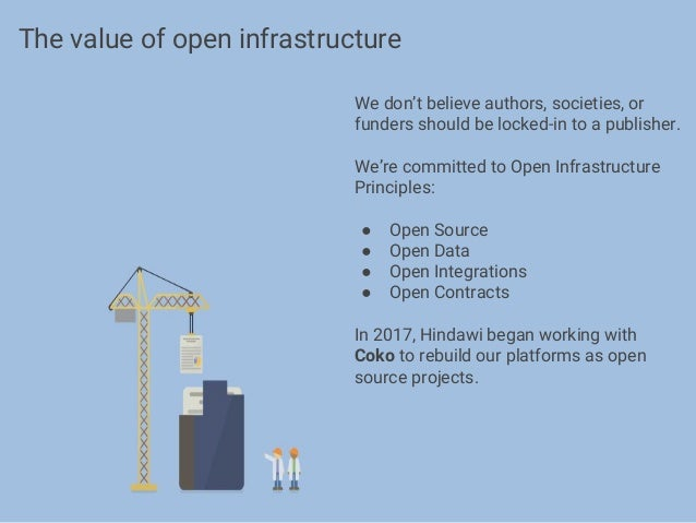 We don't believe authors, societies, or funders should be locked-in to a publisher. We're committed to Open Infrastructure...