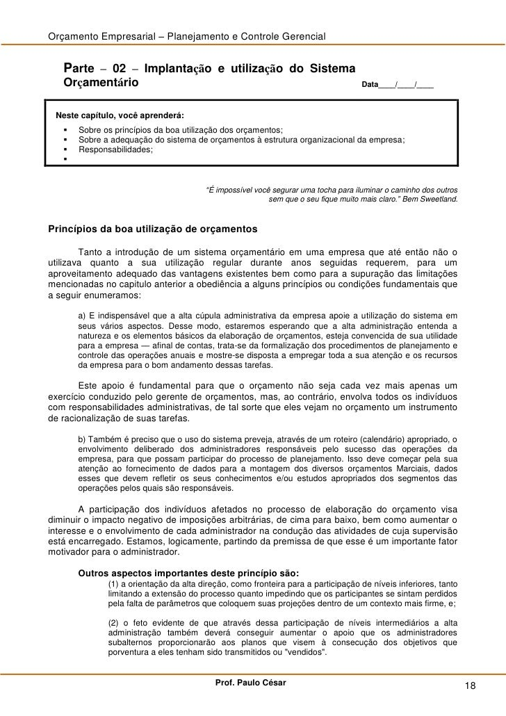 Orçamento Empresarial – Planejamento e Controle Gerencial      Parte – 02 – Implantação e utilização do Sistema    Orçamen...