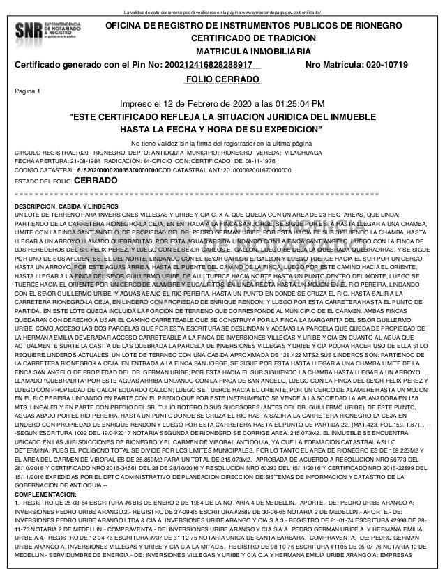 La validez de este documento podr� verificarse en la p�gina www.snrbotondepago.gov.co/certificado/ Certificado generado co...