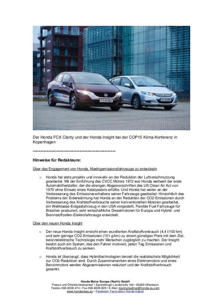 Der Honda FCX Clarity und der Honda Insight bei der COP15 Klima-Konferenz inKopenhagen------------------------------------...
