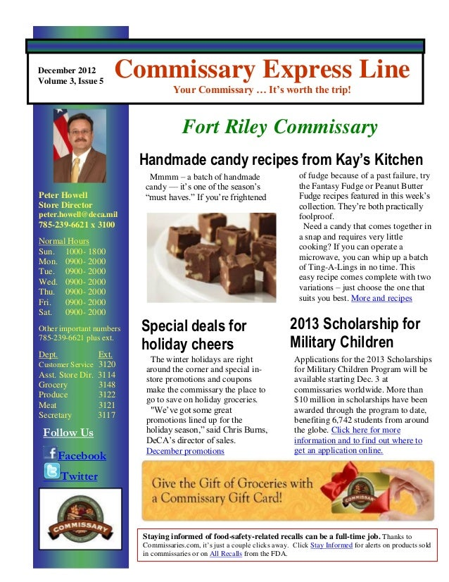 December 2012Volume 3, Issue 5                          Commissary Express Line                                      Your ...