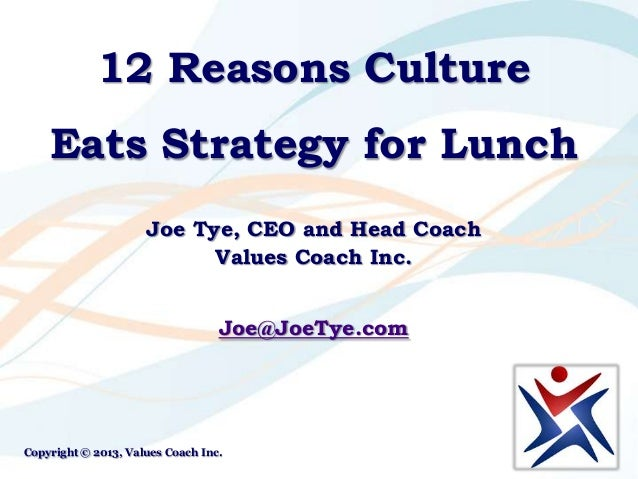 12 Reasons Culture Eats Strategy for Lunch Joe Tye, CEO and Head Coach Values Coach Inc. Joe@JoeTye.com Copyright © 2013, ...