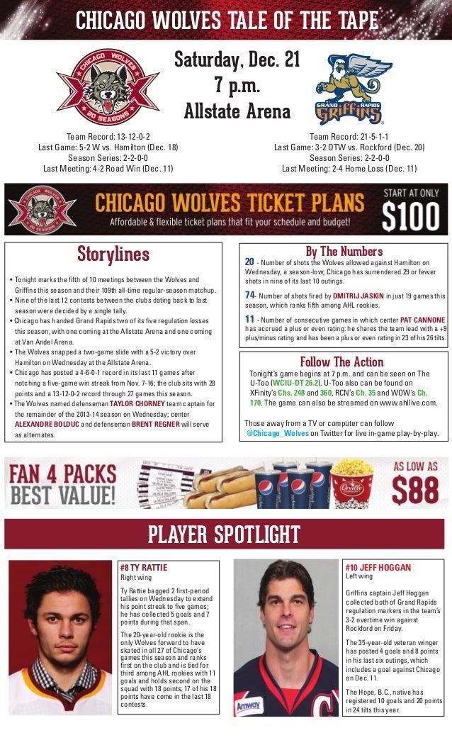CHICAGO WOLVES TALE OF THE TAPE Saturday, Dec. 21 7 p.m. Allstate Arena Team Record: 21-5-1-1 Last Game: 3-2 OTW vs. Rockf...