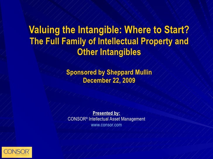 Valuing the Intangible: Where to Start? The Full Family of Intellectual Property and Other Intangibles Sponsored by Sheppa...