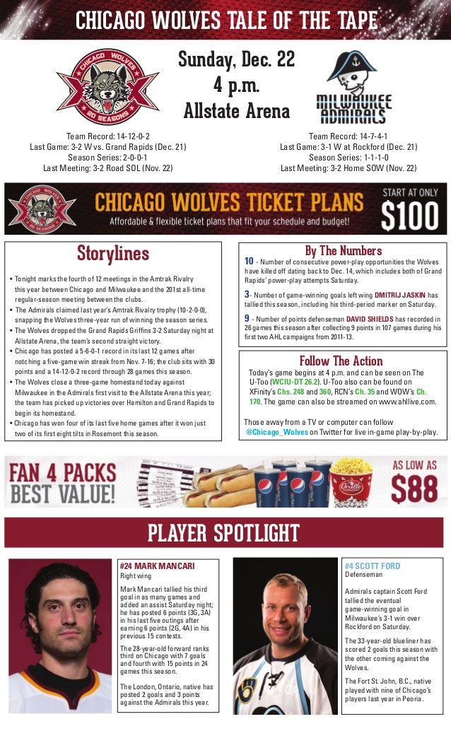 CHICAGO WOLVES TALE OF THE TAPE Sunday, Dec. 22 4 p.m. Allstate Arena Team Record: 14-7-4-1 Last Game: 3-1 W at Rockford (...