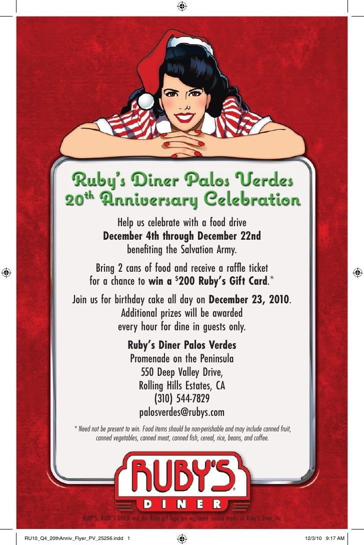 Ruby's Diner Palos Verdes              20th Anniversary Celebration                              Help us celebrate with a ...