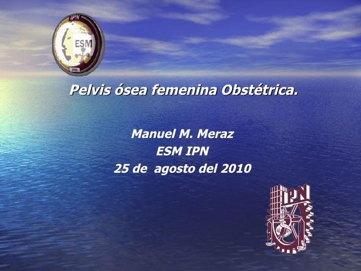 Pelvis ósea femenina Obstétrica. Manuel M. Meraz ESM IPN 25 de  agosto del 2010