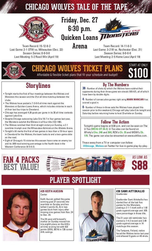 CHICAGO WOLVES TALE OF THE TAPE Friday, Dec. 27 6:30 p.m. Quicken Loans Team 14-11-0-3 Team Record: 15-12-0-2 Arena Last G...