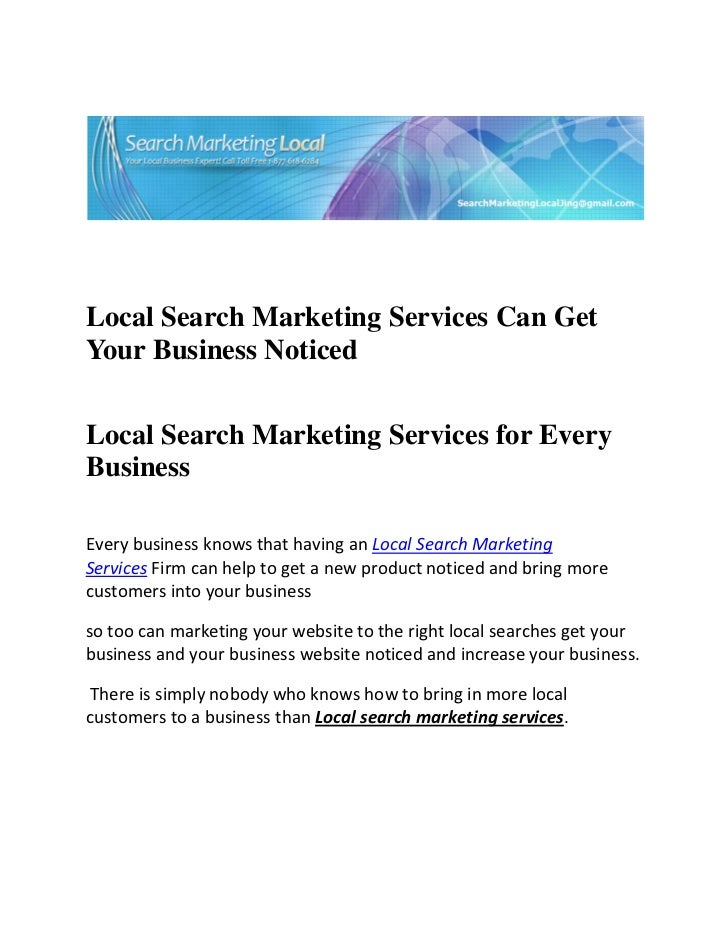 Local Search Marketing Services Can GetYour Busi...