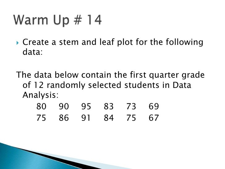 Create a stem and leaf plot for the following data:<br />The data below contain the first quarter grade of 12 randomly sel...