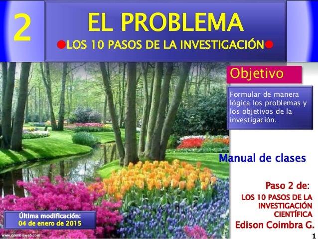 2 1www.coimbraweb.com Edison Coimbra G. LOS 10 PASOS DE LA INVESTIGACIÓN CIENTÍFICA Paso 2 de: Manual de clases EL PROBLEM...
