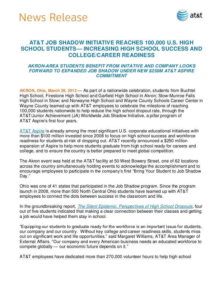 AT&T JOB SHADOW INITIATIVE REACHES 100,000 U.S. HIGHSCHOOL STUDENTS— INCREASING HIGH SCHOOL SUCCESS AND             COLLEG...