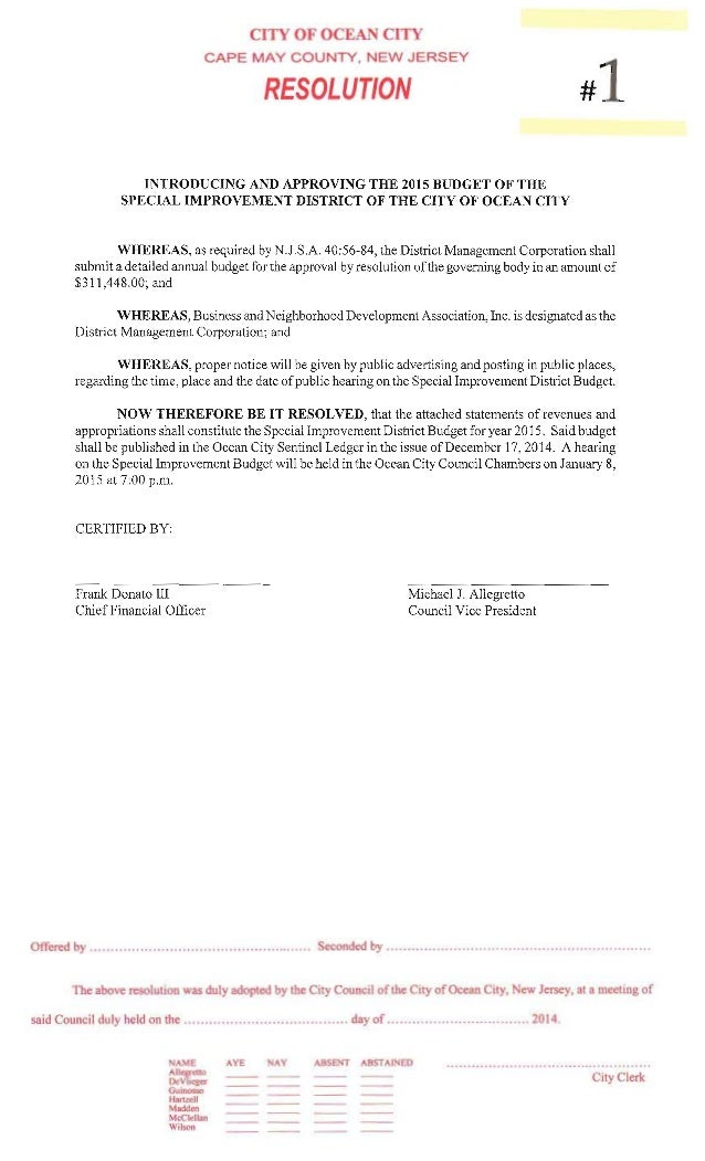 CITY OF OCEAN CITY CAPE MAY COUNTY,  NEW JERSEY  RESOLUTION #1  INTRODUCING AND APPROVING THE 2015 BUDGET OF THE SPECIAL I...