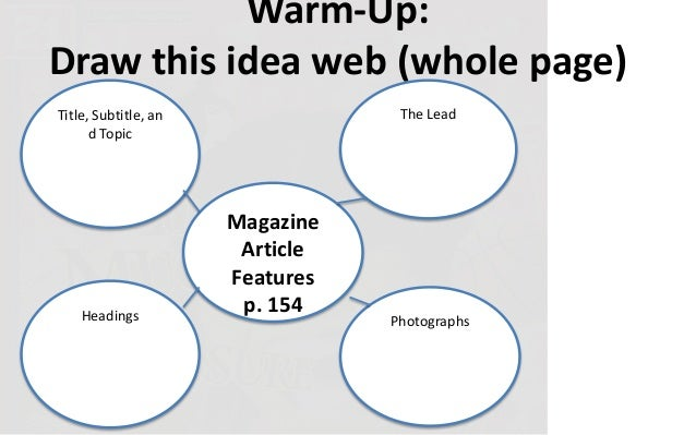 Warm-Up:Draw this idea web (whole page)Title, Subtitle, and TopicHeadingsThe LeadPhotographsMagazineArticleFeaturesp. 154