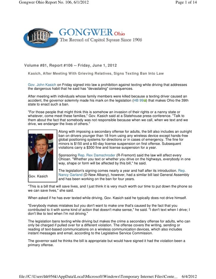 Gongwer Ohio Report No. 106, 6/1/2012                                                                 Page 1 of 14  Volume...