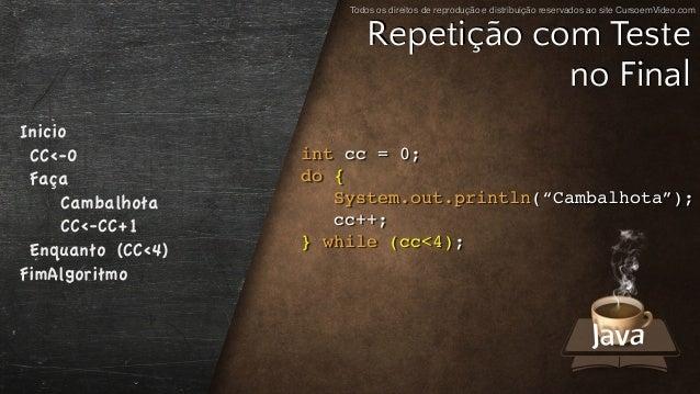 """Todos os direitos de reprodução e distribuição reservados ao site CursoemVideo.com int cc = 0; do { System.out.println(""""Ca..."""