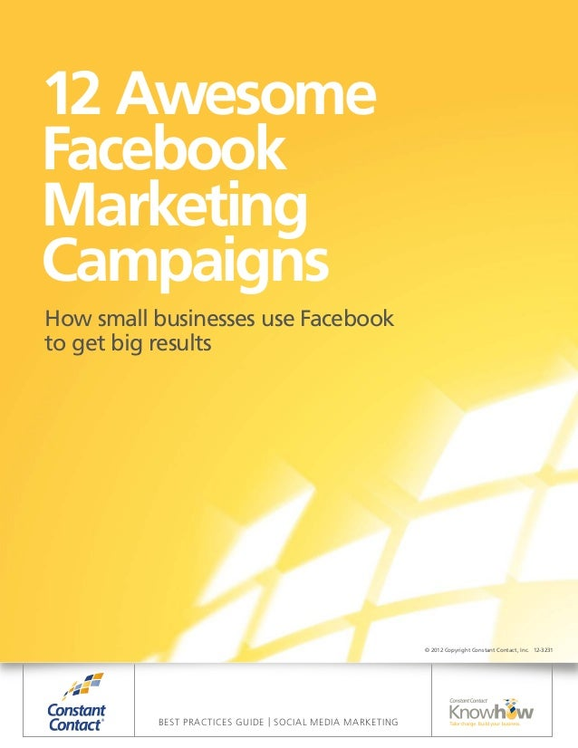 12 AwesomeFacebookMarketingCampaignsHow small businesses use Facebookto get big results                                   ...
