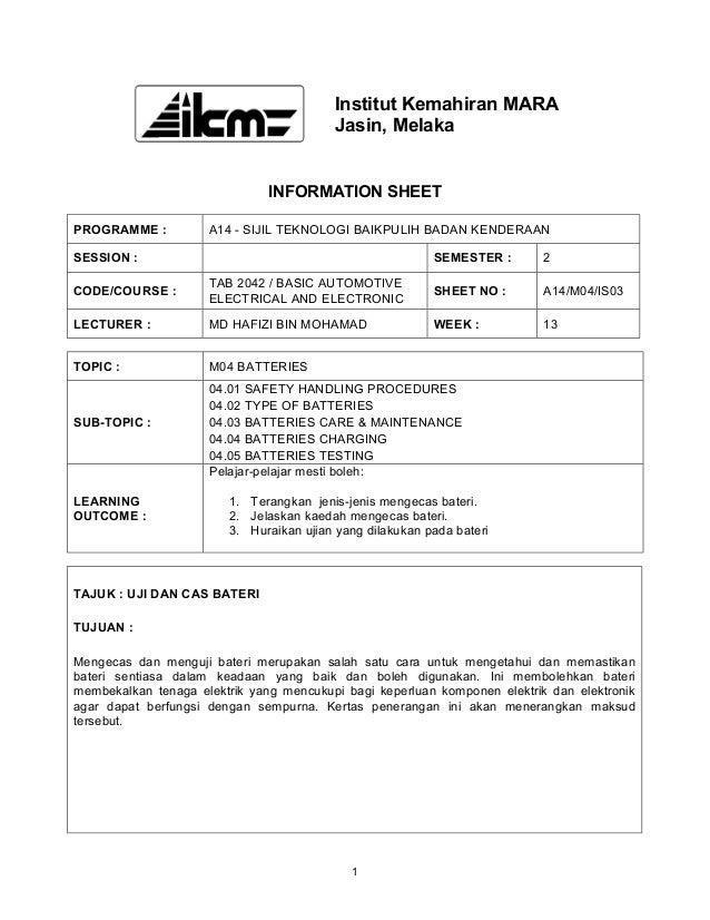 Institut Kemahiran MARA                                         Jasin, Melaka                               INFORMATION SH...