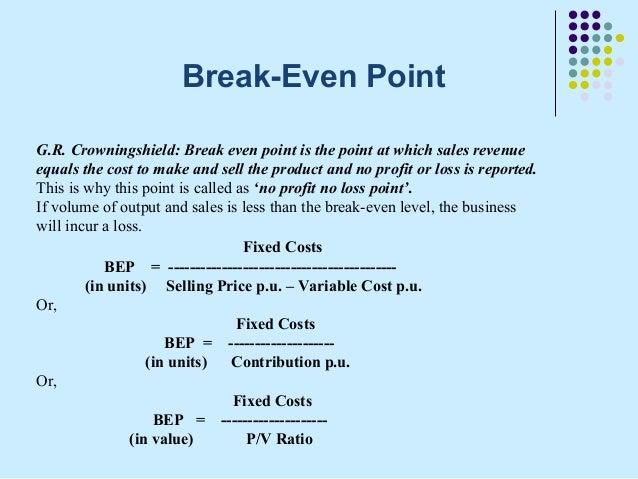 Break Even PointG.  Define Breakeven Analysis