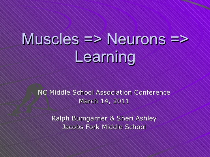 Muscles => Neurons => Learning NC Middle School Association Conference March 14, 2011 Ralph Bumgarner & Sheri Ashley Jacob...