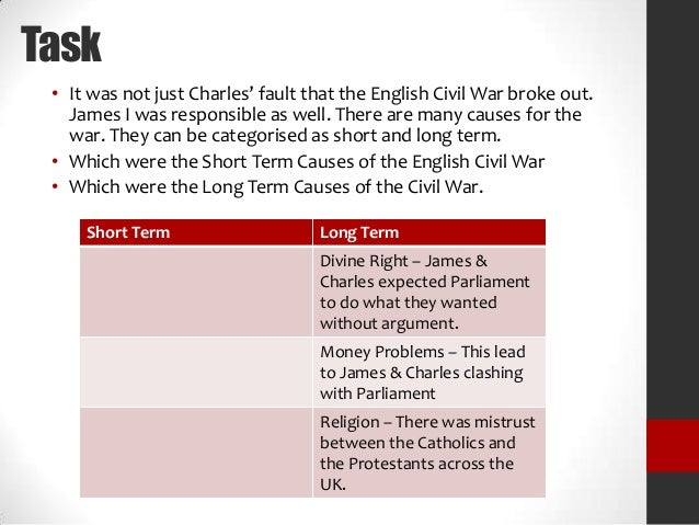 why did the english civil war break out essay Why did the civil war break out in 1642 long parliament ends with the beheading of charles (but that not part of the course) they never wanted war , maybe a.