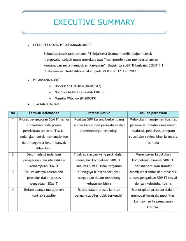 12 Contoh Laporan Audit Kelompok 2