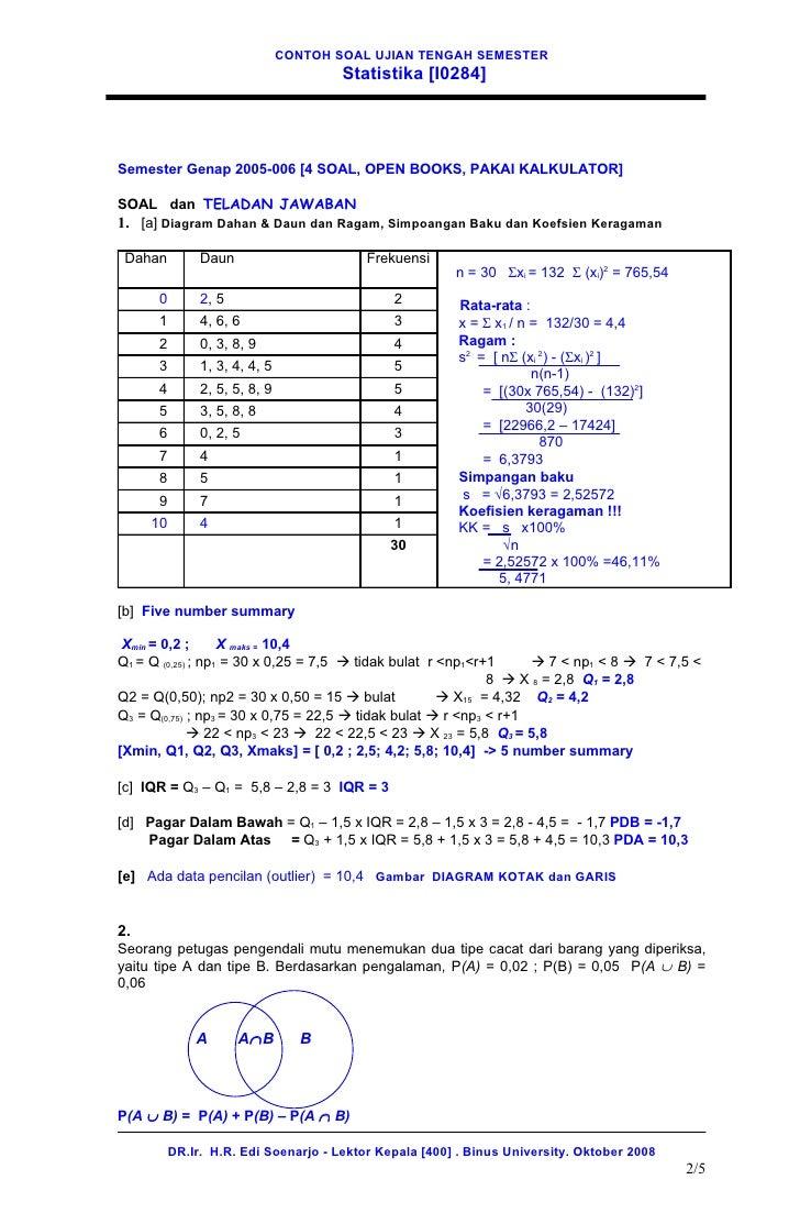 12. contoh soal uts statistika