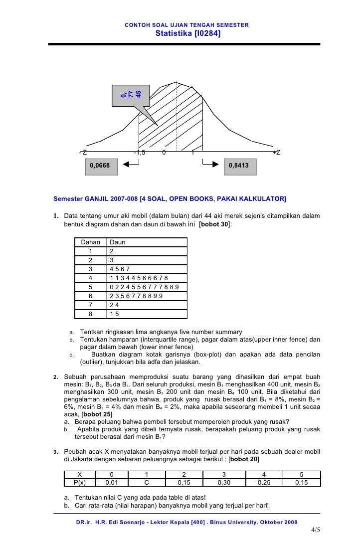 12 contoh soal uts statistika oktober 2008 35 4 ccuart Gallery