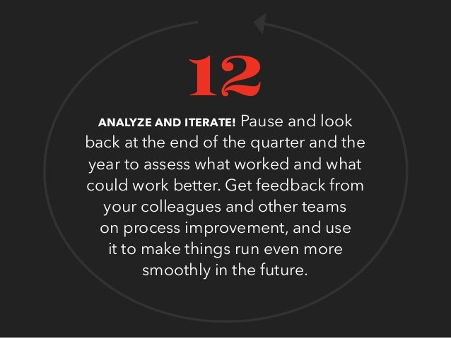 ANALYZE AND ITERATE! Pause and look back at the end of the quarter and the year to assess what worked and what could work ...