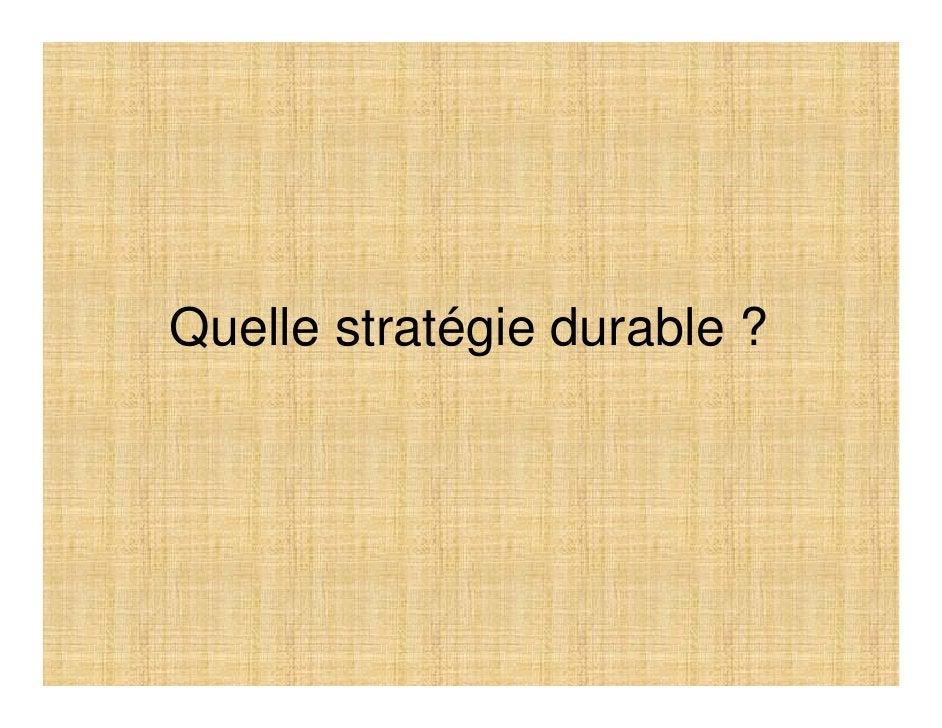 Quelle stratégie durable ?