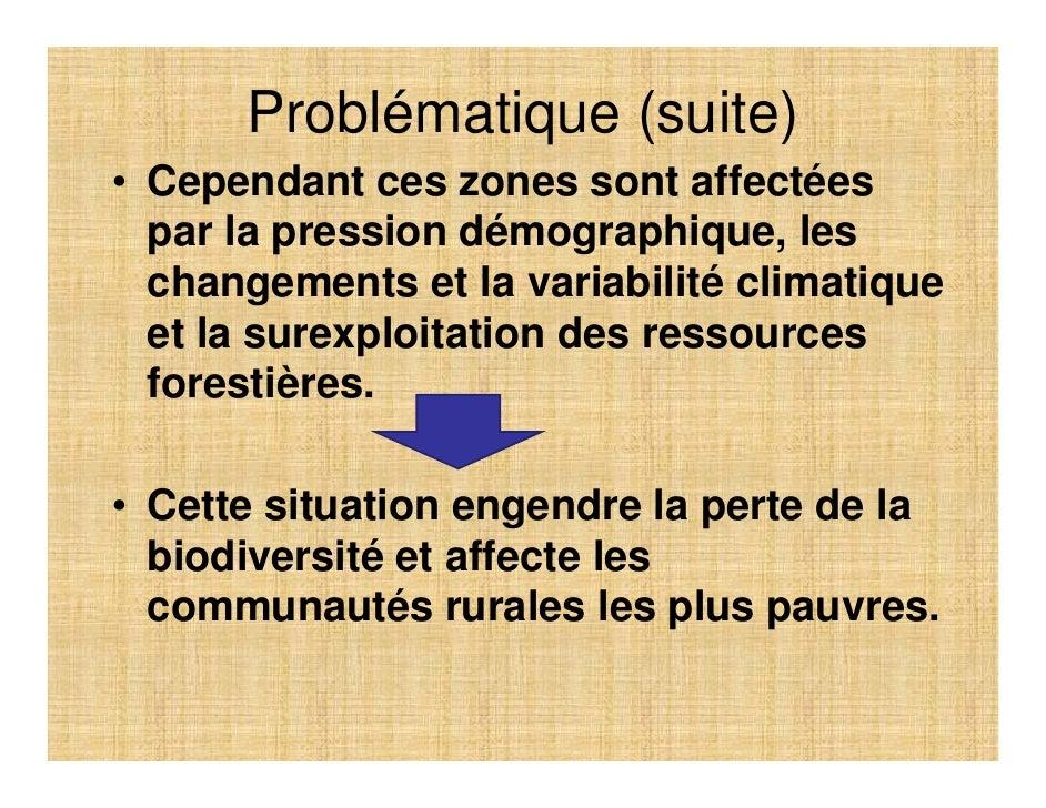 Problématique (suite) • Cependant ces zones sont affectées   par la pression démographique, les   changements et la variab...