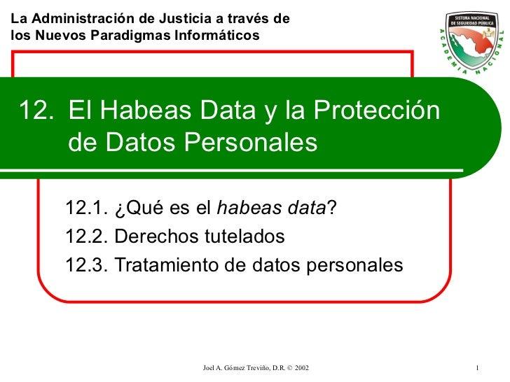 12. El Habeas Data y la Protección de Datos Personales 12.1. ¿Qué es el  habeas data ? 12.2. Derechos tutelados 12.3. Trat...