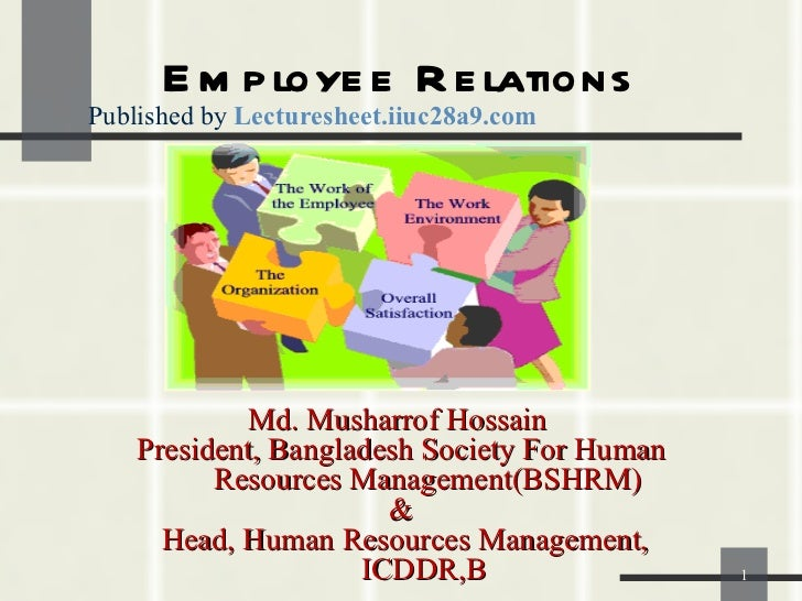 Employee Relations Md. Musharrof Hossain  President, Bangladesh Society For Human Resources Management(BSHRM) &  Head, Hum...