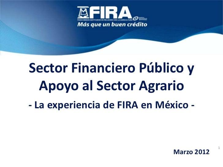 Sector Financiero Público y Apoyo al Sector Agrario- La experiencia de FIRA en México -                                   ...