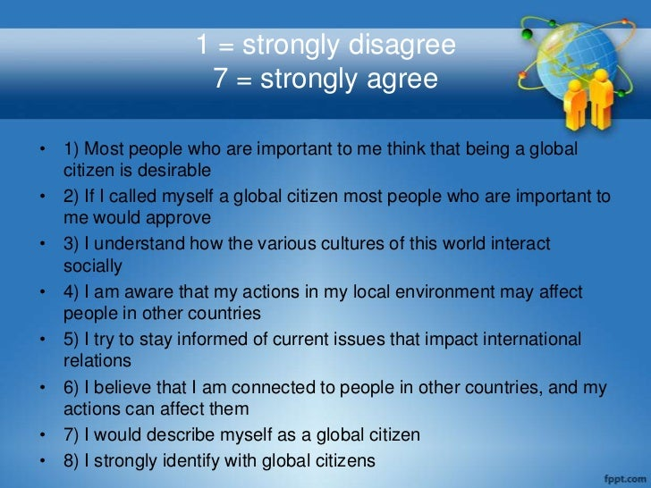 1 = strongly disagree                    7 = strongly agree• 1) Most people who are important to me think that being a glo...