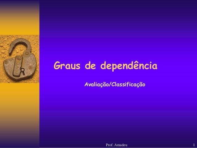 Graus de dependência Avaliação/Classificação  Prof. Amadeu  1